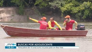 Corpo de Bombeiros mantém buscas a jovem desaparecido em rio de Boa Vista - Adolescente de 15 anos está desaparecido desde a tarde de domingo (29).