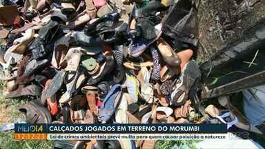 Telespectador registra calçados jogados em terreno no Morumbi - Lei de crimes ambientais prevê multa para quem causar poluição a natureza.