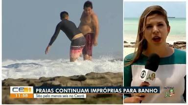 Pelo menos seis praias estão impróprias para o banho por causa de óleo - Saiba mais no g1.com.br/ce