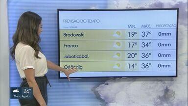 Veja a previsão do tempo para esta quinta-feira (2) na região de Ribeirão Preto - Calor continua forte em todas as cidades.