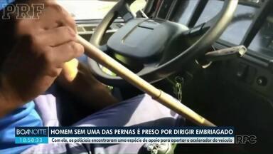 Homem sem uma das pernas é preso por digiri embriagado - Com ele, os policiais encontraram uma espécie de apoio para apertar o acelerador do veículo