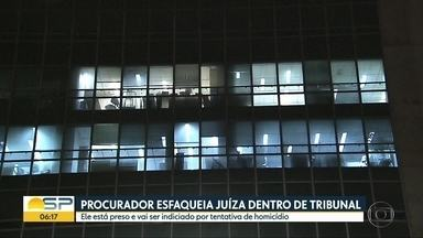 Procurador da Fazenda esfaqueia juíza na sede do TRF 3ª Região, na Avenida Paulista - Segundo a Polícia Federal, Juíza teve cortes no pescoço e passa bem.