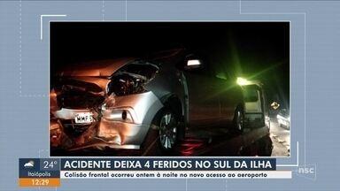 Colisão no acesso ao novo aeroporto de Florianópolis deixa quatro pessoas feridas - Colisão no acesso ao novo aeroporto de Florianópolis deixa quatro pessoas feridas