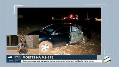 Casal morre em acidente envolvendo moto e carro na MS-276 em Dourados - Acidente ocorreu na noite deste sábado.