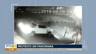 Morte de adolescente vítima de atropelamento gera protesto em Panorama - Motorista envolvido no acidente de trânsito não apresentava sinais de embriaguez, segundo a polícia.