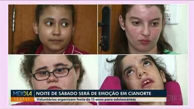 Festa de quinze anos de quatro meninas promete muitas emoções em Cianorte - Toda a festa foi organizada por voluntários com doações.