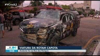 Viatura da PM capota em Belém, depois de ser atingida por outro veículo - Acidente foi na esquina da Rua dos Pariquis com a tv. Três de Maio.