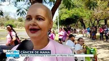 Conscientização sobre o câncer de mama é realizada em Montes Claros - Evento foi realizado no Parque Milton Prates. Várias atividades foram feitas, para alertar as mulheres sobre o câncer de mama.