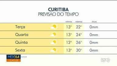 Tempo firma nos próximos dias em Curitiba - O sol ganha força e as temperaturas sobem.