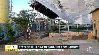 Teto de escola desaba no bairro Bom Jardim - Saiba mais em g1.com.br/ce