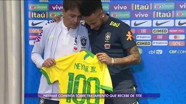 Neymar completa 100 jogos pela Seleção e comenta sobre o tratamento que recebe de Tite - Neymar completa 100 jogos pela Seleção e comenta sobre o tratamento que recebe de Tite