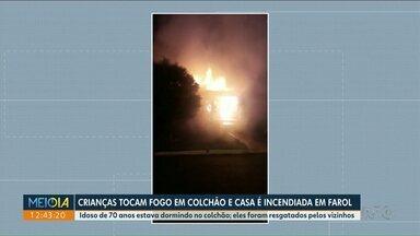 Crianças colocam fogo em colchão enquanto brincavam - Foi em Farol. A casa pegou fogo mas ninguém se feriu.