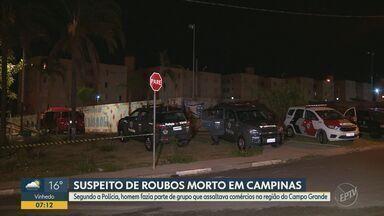 Criminoso morre após troca de tiros com policiais em Campinas - Segundo a polícia, homem fazia parte de um grupo que assaltava comércios na região do Campo Grande; câmeras de segurança já registraram algumas dessas ações.
