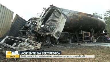 Acidente deixa dois motoristas mortos em Seropédica - Colisão aconteceu na antiga estrada Rio-São Paulo.