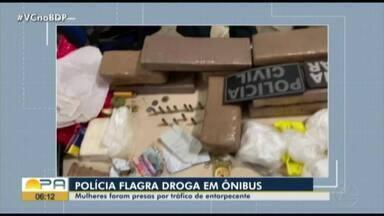 Em Paragominas, polícia flagra droga dentro de ônibus - Mulheres foram presas por tráfico de entorpecentes.