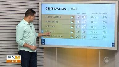 Confira a previsão do tempo para esta quinta-feira no Oeste Paulista - Veja como ficam as temperaturas na região de Presidente Prudente.