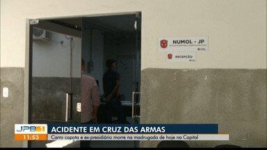 Carro capota e uma pessoa morre em um acidente em João Pessoa - O acidente foi no bairro de Cruz das Armas.