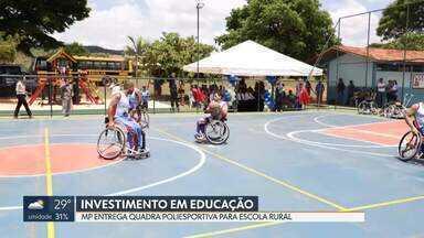 Ministério Público entrega quadra poliesportiva para escola rural em Planaltina - Verba para a obra vem de multa de condenação por corrupção.
