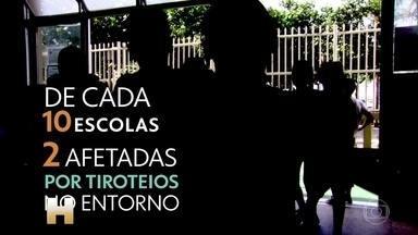 De janeiro a setembro, foram quase 2 mil tiroteios perto de escolas e creches no Rio - Os dados são do aplicativo 'Fogo Cruzado'. A Cruz Vermelha internacional ofereceu a professores e funcionários de algumas cidades do Rio de Janeiro um treinamento para que eles saibam como agir em caso de tiroteio.