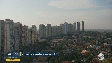 Confira a previsão do tempo para esta terça-feira (15) em Ribeirão Preto - Temperatura pode chegar a 35ºC.