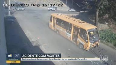 Motorista de ônibus que se envolveu em acidente com carro é ouvido pela polícia em BH - Duas irmãs de 37 e 42 anos, que estavam no carro, morreram, e motorista foi socorrido. Passageiros do ônibus não ficaram feridos.