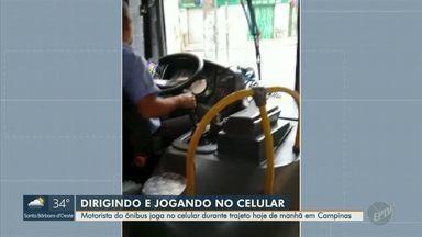 Motorista de ônibus é flagrado jogando no celular durante trajeto em Campinas - Imagens foram feitas por uma passageira da linha 362.