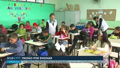 Com 54 anos de profissão, professora vira inspiração no distrito de Guarapuava - Muitos ex-alunos e até familiares da professora Leonilda se inspiraram nela para também seguir na profissão.