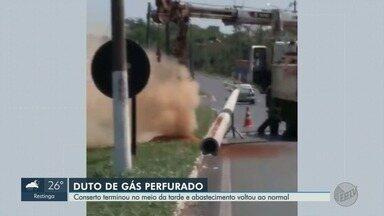Reparo na rede de distribuição de gás na Rodovia Anhanguera é concluído - Equipes terceirizadas da CPFL faziam a troca de postes no local quando atingiram o duto de gás natural.