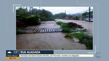 Morador de Viamão mostra ruas alagadas no bairro Santo Onofre - Assista ao vídeo.