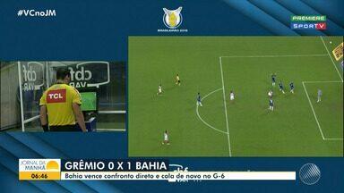 Bahia vence o Grêmio e continua na luta por uma vaga no G6; veja os melhores momentos - O tricolor jogou fora de casa e venceu o adversário por 1a 0.