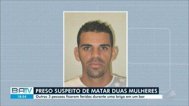 Homem suspeito de matar duas mulheres depois de discussão com dona de bar é preso - O caso aconteceu no bairro de Águas Claras, no último sábado (12).