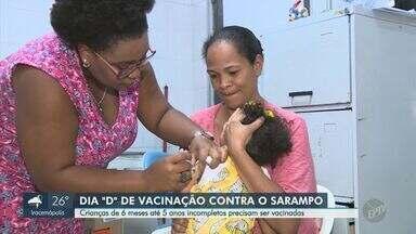 'Dia D': postos de saúde de Campinas e Limeira vacinam contra o sarampo - Ação aconteceu neste sábado (19), para imunizar crianças entre seis meses e 5 anos incompletos. Campinas (SP) tem 86 casos confirmados da doença; Limeira (SP) acumula 25.