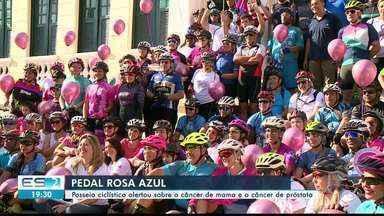 Passeio ciclístico em Cachoeiro, no ES, faz alerta sobre câncer de mama e próstata - Evento é chamado de Pedal Rosa Azul.