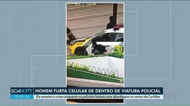 Homem furta celular de dentro de viatura da PM - A ação foi hoje em Curitiba.