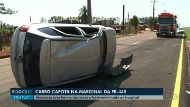 Carro capota na PR-445 - Motorista teve ferimentos leves e foi encaminhada ao hospital.