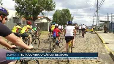Passeio ciclístico em apoio ao Outubro Rosa, em Guarapuava - Mais de 150 ciclistas participaram do evento.