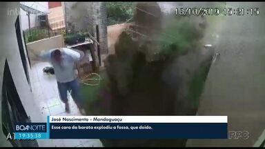 Homem explode quintal de casa ao tentar matar baratas com veneno, gasolina e fogo - Caso aconteceu em Enéas Marques, no sudoeste do Paraná. 'Fiquei pasmo e tremendo por causa do susto', afirmou o morador. Ninguém ficou ferido.