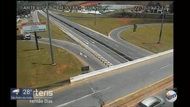 Trânsito em trecho da Fernão Dias é de pouco movimento em Pouso Alegre (MG) - Trânsito em trecho da Fernão Dias é de pouco movimento em Pouso Alegre (MG)