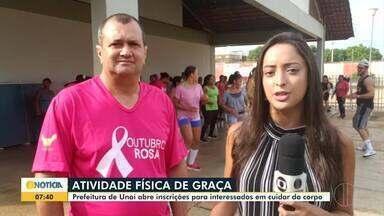 Inscrições estão abertas para atividade física gratuita em Unaí - Prefeitura realiza projeto 'Saúde em Movimento' para ajudar população a cuidar da saúde e do corpo.