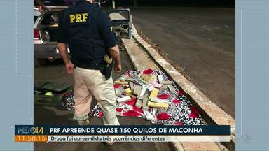 PRF apreende quase 150 quilos de maconha em Santa Terezinha de Itaipu - A droga foi apreendida em três situações diferentes.