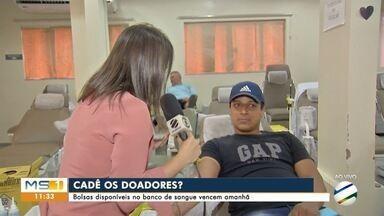 Hemosul está em regime de alerta e precisa doações de sangue - Bolsas disponíveis vencem na quinta-feira (24)