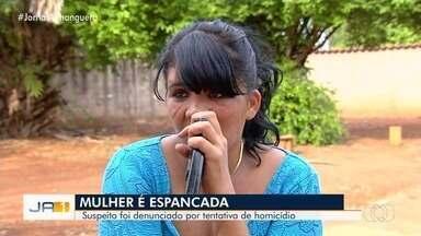 Jovem tem rosto deformado e dentes quebrados ao ser espancada na cidade de Goiás - Primo do ex-marido é suspeito da agressão. Violência teria acontecido após vítima tentar pegar filho de volta.