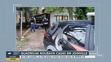 Suspeitos de integrar quadrilha especializada em roubo de casas são presos em Joinville - Suspeitos de integrar quadrilha especializada em roubo de casas são presos em Joinville
