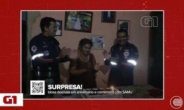 Idosa desmaia em surpresa de aniversário e comemora com equipe do SAMU - Idosa desmaia em surpresa de aniversário e comemora com equipe do SAMU