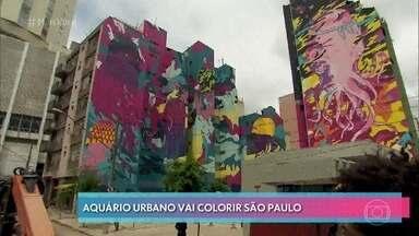 São Paulo vai abrigar a maior obra de arte a céu aberto do mundo - Quinze fachaadas de prédios vão ser pintadas e transformadas em um grande aquário urbano