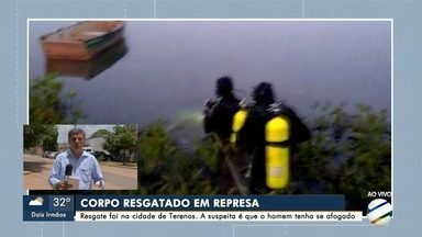 Bombeiros localizam corpo de homem em lago de Terenos - Corpo estava a 2 metros de profundidade e laudo vai apontar causa da morte