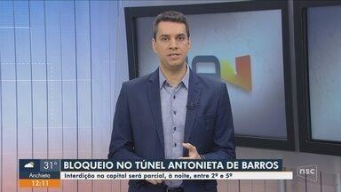 Túnel Antonieta de Barros, em Florianópolis, terá bloqueio entre segunda e quinta-feira - Túnel Antonieta de Barros, em Florianópolis, terá bloqueio entre segunda e quinta-feira