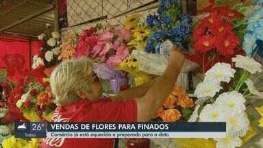 Comerciantes de São Carlos esperam aumento nas vendas de flores no Dia de Finados - Na floricultura próxima ao cemitério municipal as flores mais pedidas são os crisântemos naturais, além das artificiais.