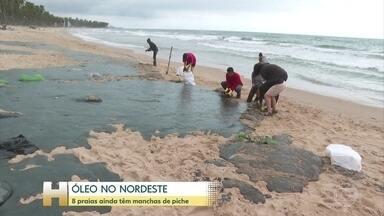 Oito praias do litoral do Nordeste ainda têm manchas de óleo - Números são de um novo balanço do grupo montado em Brasília para centralizar as ações de combate ao óleo nas praias do Nordeste.