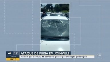 Homem que destruiu mais de 40 carros vai passar por avaliação psicológica em Joinville - Homem que destruiu mais de 40 carros vai passar por avaliação psicológica em Joinville